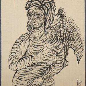 El Cuervo de San Pablo. Ilustración recogida en el BESTIARIUS STEBANENSIS.