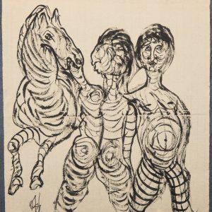 El Caballo Bucéfalo. Ilustración recogida en el BESTIARIUS STEBANENSIS.