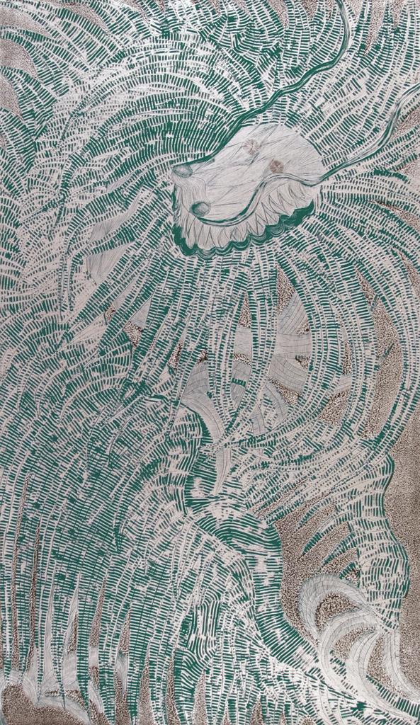 Dragón Viejo (plata y verde)